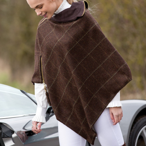 Tweed Poncho - Coffee (one size)