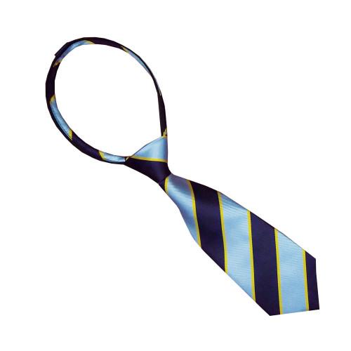Junior PC Striped Zipper Tie - Grey/Purple/Gold Stripes