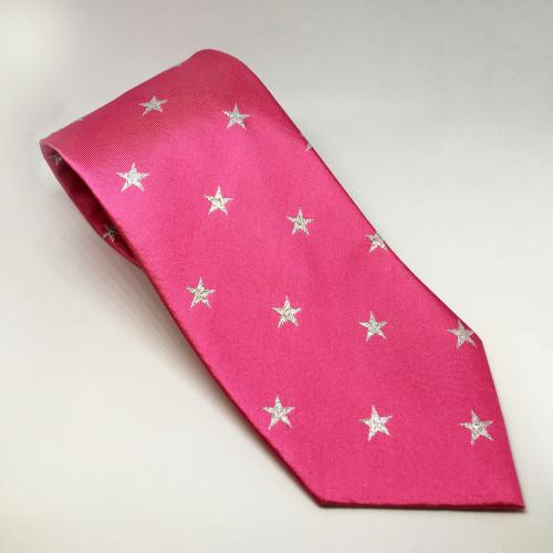Junior Star Tie - Fucshia / Metalic silver stars