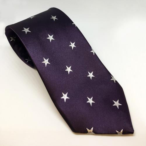 Junior Star Tie - Purple / Metalic silver stars