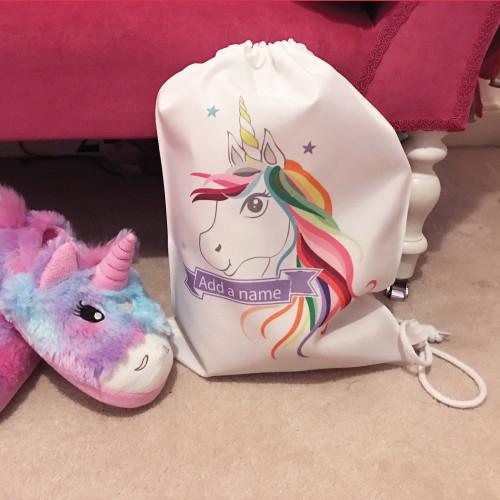 Personalised Unicorn Drawstring Bag