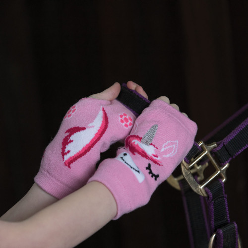 Childs Unicorn Fingerless Gloves