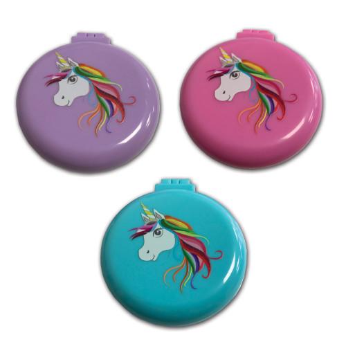 Unicorn Compact Hairbrush Mirror - Pink