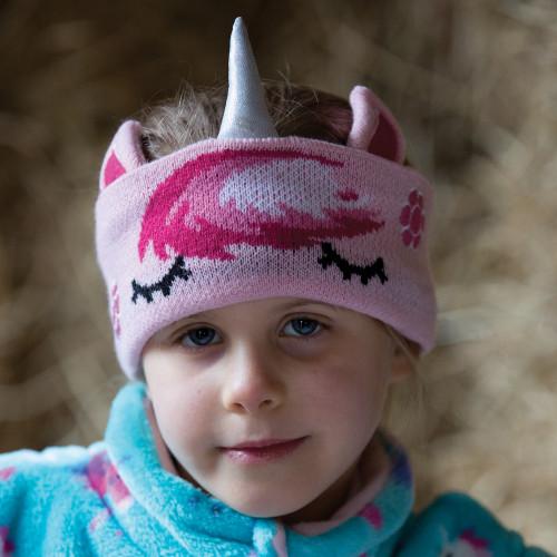Childs Unicorn Knit Headband - Pink