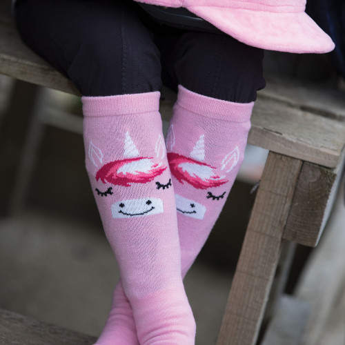 Childs Unicorn Long Riding Socks - Pink UK12-4