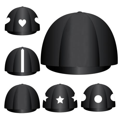 Custom Lycra Hat Silk -  Black Button Top