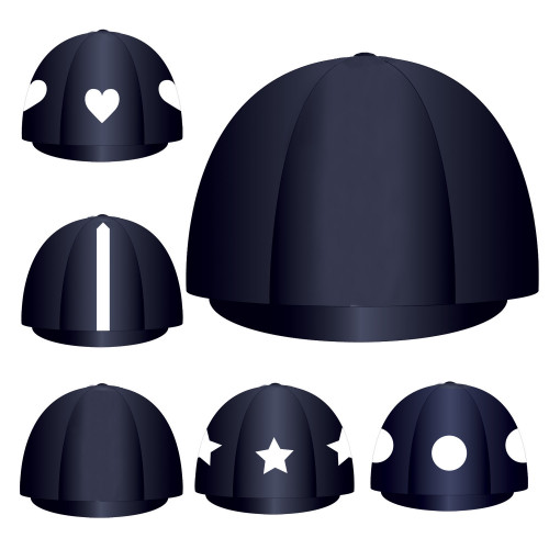 Custom Lycra Hat Silk -  Navy Button Top
