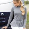 Peplum Training/ Competition Shirt -  Melange Grey UK12/ US8